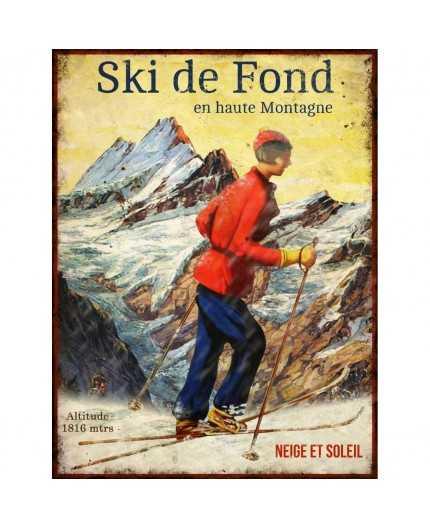 Antic line cr ations objets deco plaque ski de fond 25x33 - Plaque fond de meuble ...