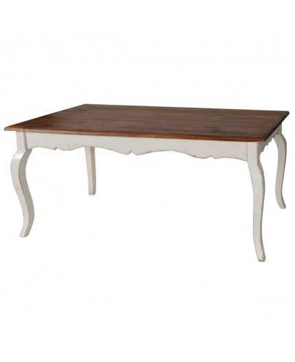 Table salle à manger blanc patiné-plateau ciré